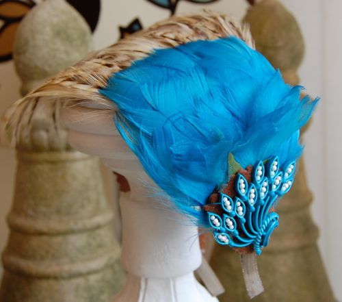 Aqua Feather Layered Headband