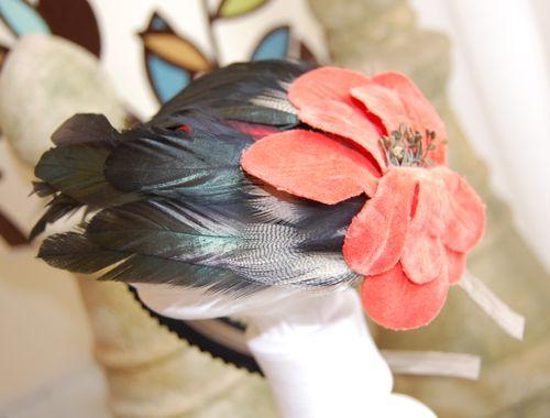 Black Feather & Orange Velvet Flower Headband