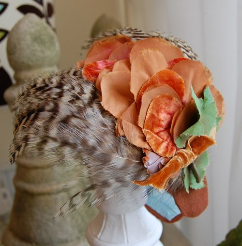 Brown Speckled Feather & Rust Flower HeadBand