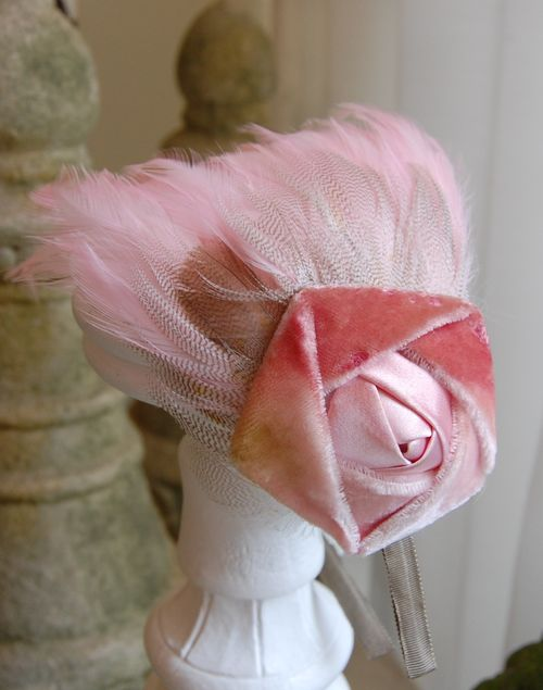 Pink Feather & Pink Velvet Rose Headband