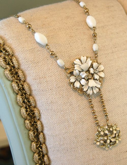 White Double Drop Necklace