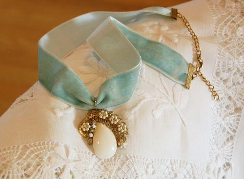 Blue Velvet Paisley charm necklace