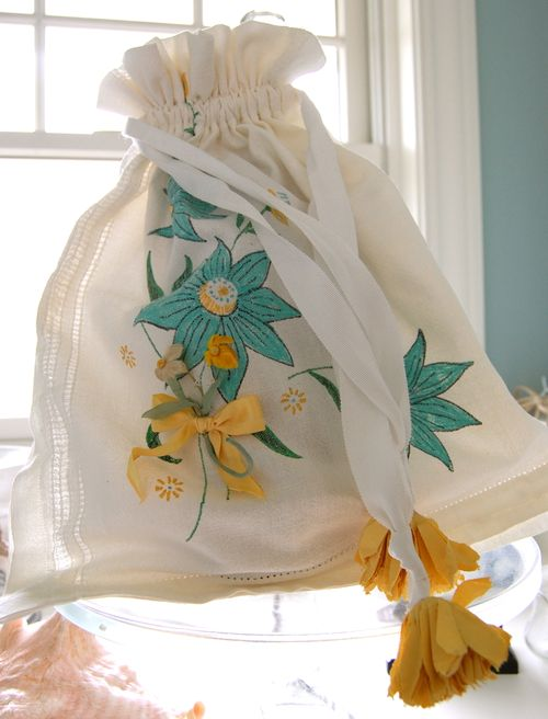 Vintage Tablecloth Drawstring Bag